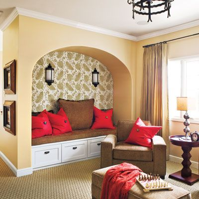 Highlight an alcove by wallpapering the back wall (Photo: Van Chaplin): Cozy Nooks, Living Rooms, Idea, Benches, Reading Nooks, Colors Schemes, House, Window Seats, Sit Area