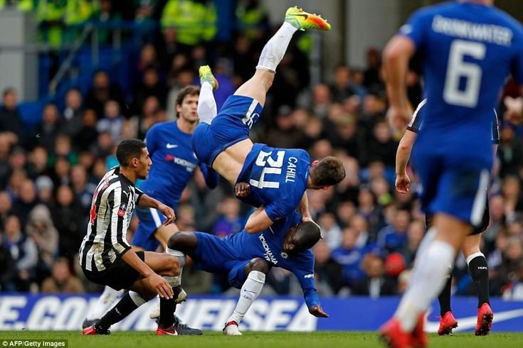 N'Golo Kante collides with Gary Cahill the end of the match: Chelsea 3-0 Newcastle, 28 Jan 18