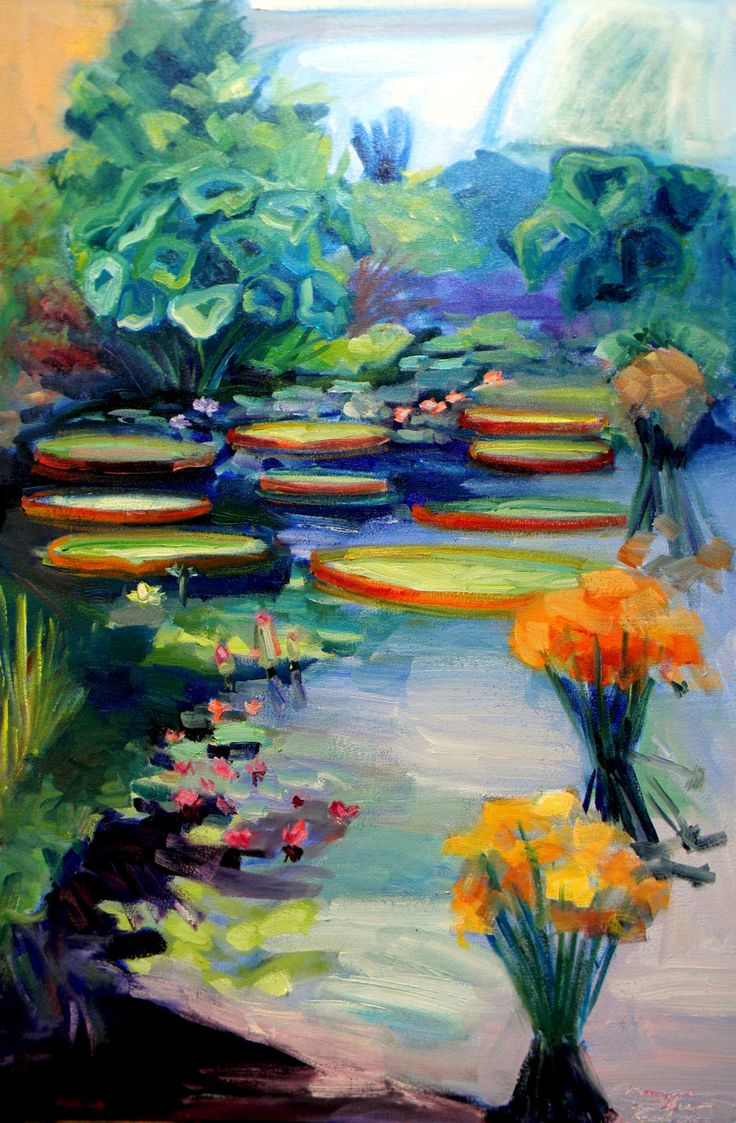 """ON SALE Longwood Gardens Waterlilies Water Lilies Path of Life Original  plein air Oil Painting 36"""" x 24"""" Expressionist by MoniqueKenSarkessian on Etsy"""