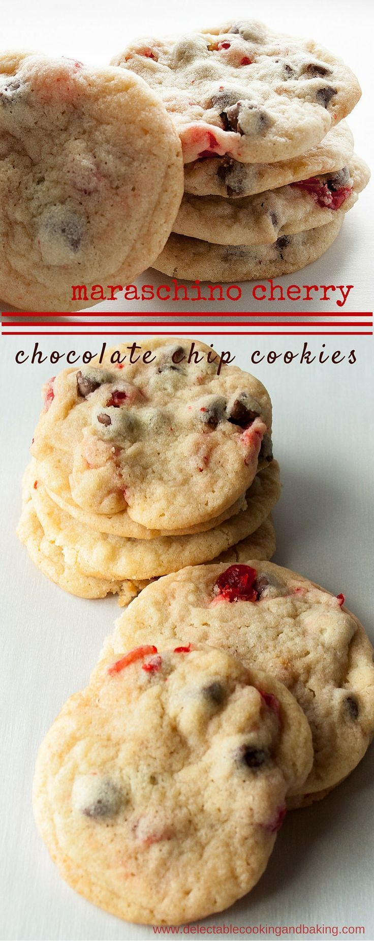 Oh my heavens! I've combined my darling husband's favorite cookie with one of my faves to make these Maraschino Cherry Chocolate Chip Cookies! DelectableCookingingandBaking.com | #chocolatechipcookies #cherrychocolatechipcookies #maraschinocherries #maraschinocherrychocolatechipcookies