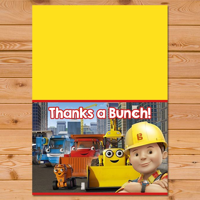 Bob The Builder Folded Thank You Card Bob The Builder Thanks Bob The Builder Birthday Bob The Builder Printables Builder Party Bob The Builder Thank You Cards Your Cards