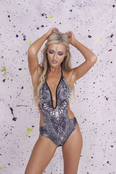 Slither City Swimsuit   Primark  Bite back in Primark's stunning cut out swimsuit with neck tie. Adjustable mid back tie so the plunge neckline with gold beading detail can make maximum impact.Removable padding.