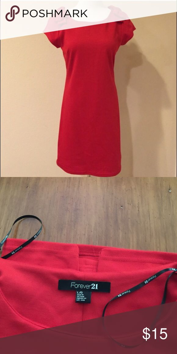 Forever 21 Party Desss This lipstick red dress is a show stopper. It is simple and elegant, with a bright matching bow on each shoulder, perfect used condition Forever 21 Dresses
