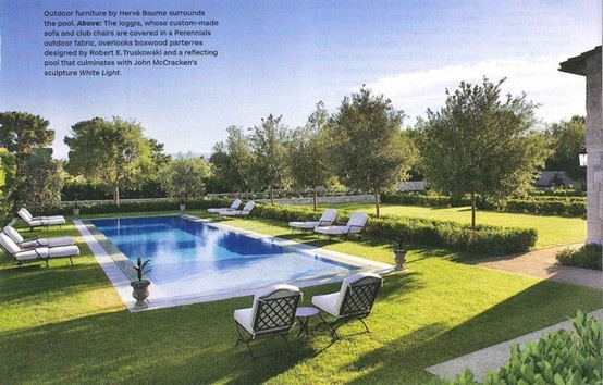 Outdoor swimming pool with grass surround and semi formal for Swimming pool surrounds design