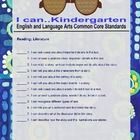 """Common Core ELA Kindergarten Reading Literature """"I Can"""" statements in an owl theme with a bright blue background.  Additional pages are in developm..."""