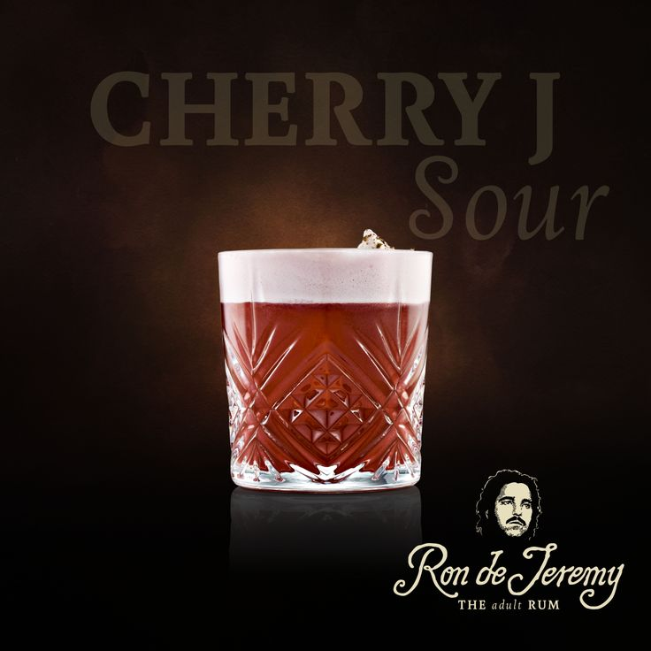 CHERRY J SOUR by Ondra Hnilicka  50ml Ron de Jeremy Reserva 20ml Fresh lemon juice 20ml Cherry Marnier liquer 10ml Creme de Cacao Dark 1 barspoon Galliano vanilla liqueur 5 drops of plum bitters 20ml egg white  3 drops from the column filled with Ron de Jeremy infused with vanilla, star anise and cinnamon  Dry shake/shake, double strain - one big ice cube, on the top grated chocolate.