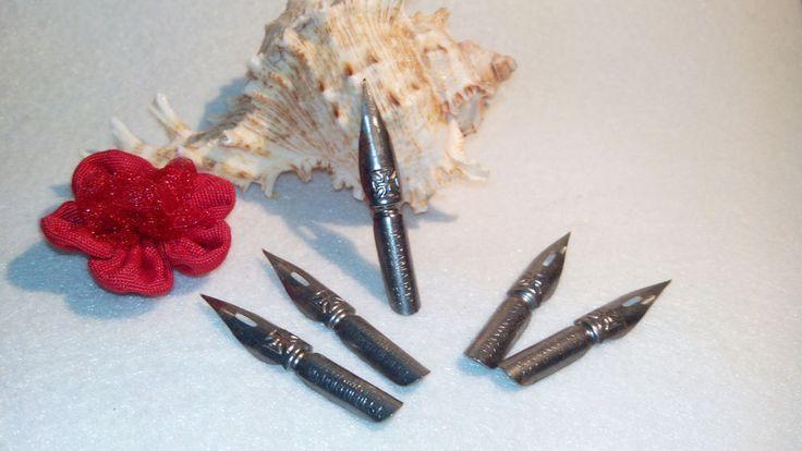 Dip pen nibs, lot of  5 nibs, vintage 50 s 60 s, calligraphy, write, draw