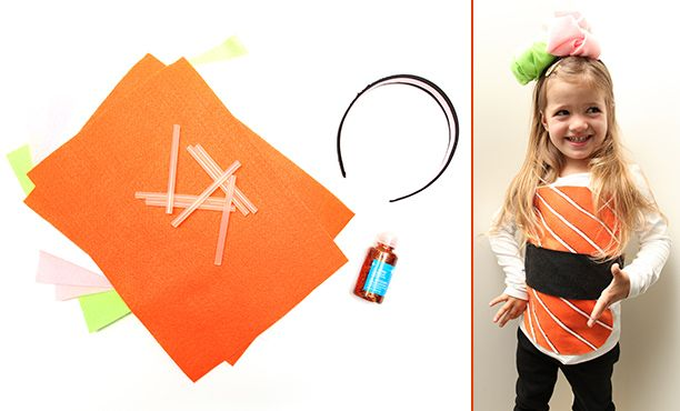 Cute easy to make sushi costume instructions are for a kid s costume