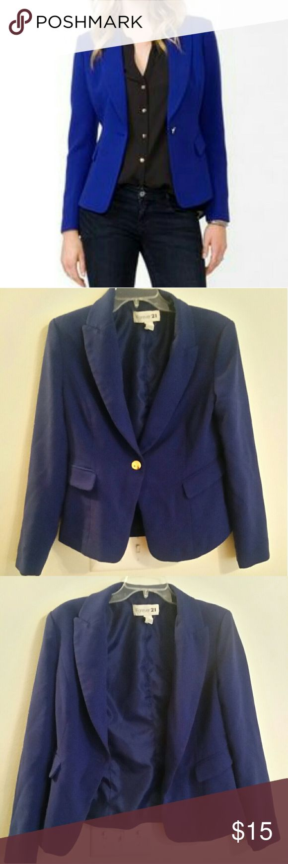 Forever 21 Royal Blue Blazer Royal Blue blazer from Forever 21. Cover photo is an example styling shot. Excellent used condition. Says L, better at a M/L. Forever 21 Jackets & Coats Blazers