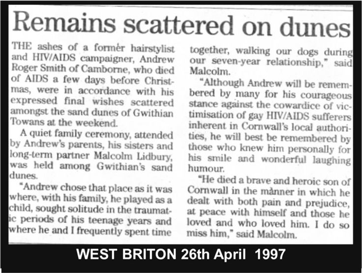 Andrew laid to rest.  #LGBT http://www.lgbthistorycornwall.blogspot.com