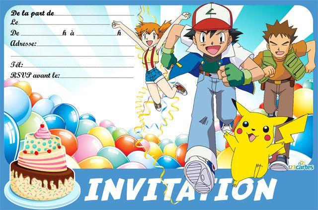 Invitations anniversaire Pokémon à imprimer pour enfants avec des personnages…