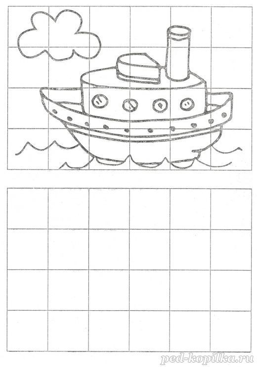 Рисование по клеточкам для детей 6-7-8 лет. Теплоход ...
