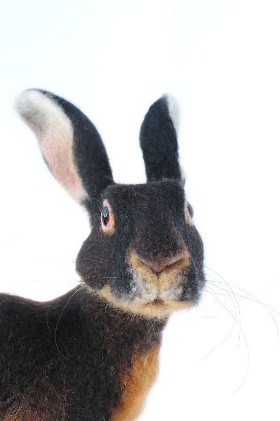 Nadel Filz Hase Belgian Hare große von YvonnesWorkshop auf Etsy