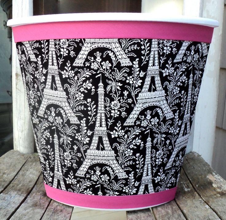 Paris Wastebasket Black White Hot Pink Michael Miller Eiffel Tower Child  Baby Bedroom Bathroom Nursery Storage On Etsy