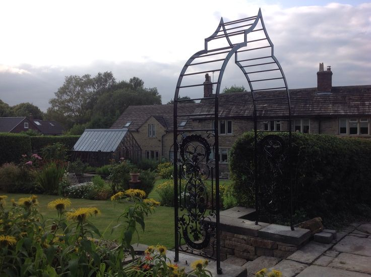 Wrought iron rose arch