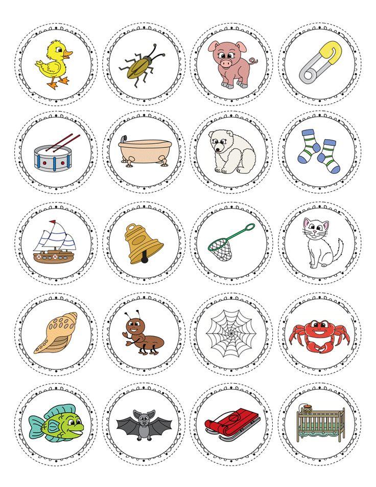 Etiquetes per imprimir amb dibuixos per treballar paraules.