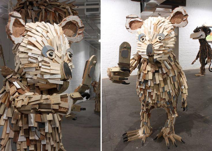 Scrap Wood Art   ND!V!DUALS' Playful And Larger Than Life Scrap Wood Sculptures