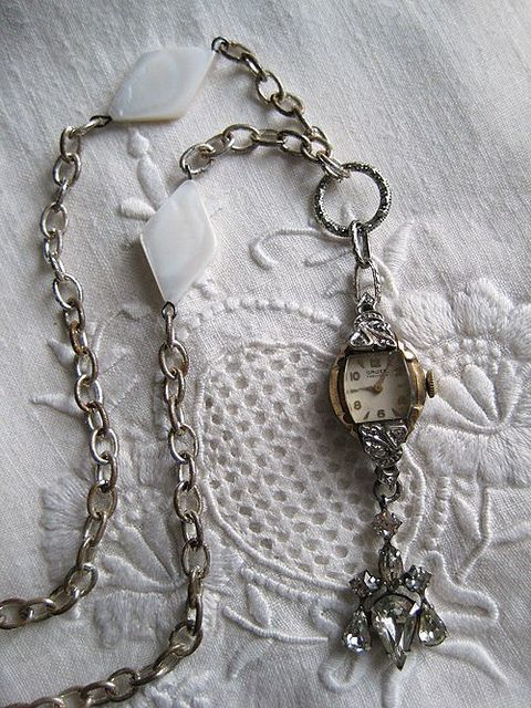 Gma used to have these interesting glasses 'savers' made from beads.  Adding her old watch face to a necklace that looks similar might be the thing to do.