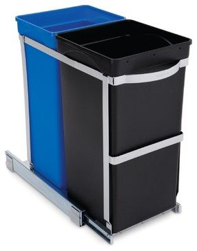 35 Litre Under Counter Pull-Out Recycler, Commercial Grade - modern - kitchen trash cans - simplehuman