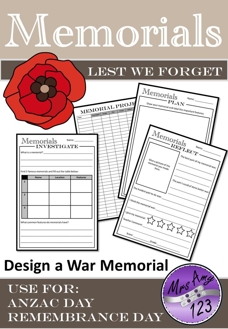 War Memorial Project- Use for ANZAC Day or Remembrance Day