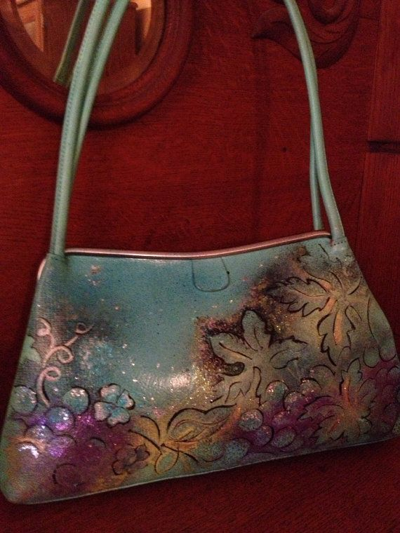 Vintage Hand painted purse Wine Before its Time by Scheibershop, $45.00
