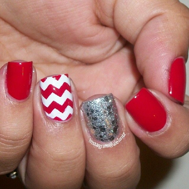 Red and white nails, OPI crown me already, chevron nail art, could be Valentines Day nails, vday nails