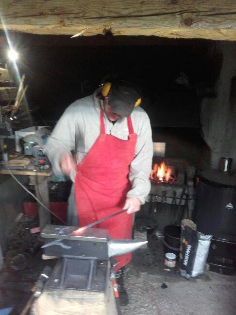 My friend is forging firepoker in the smithy
