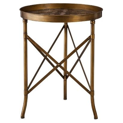 Accent Table: Threshold Stamped Metal Accent Table - Gold