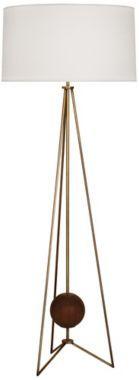 Jonathan Adler Ohai Walnut and Brass Floor Lamp -