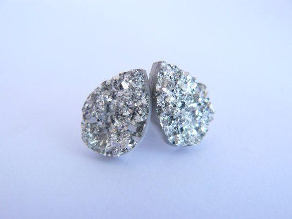 silver raindrop stud earrings on Etsy, $12.00