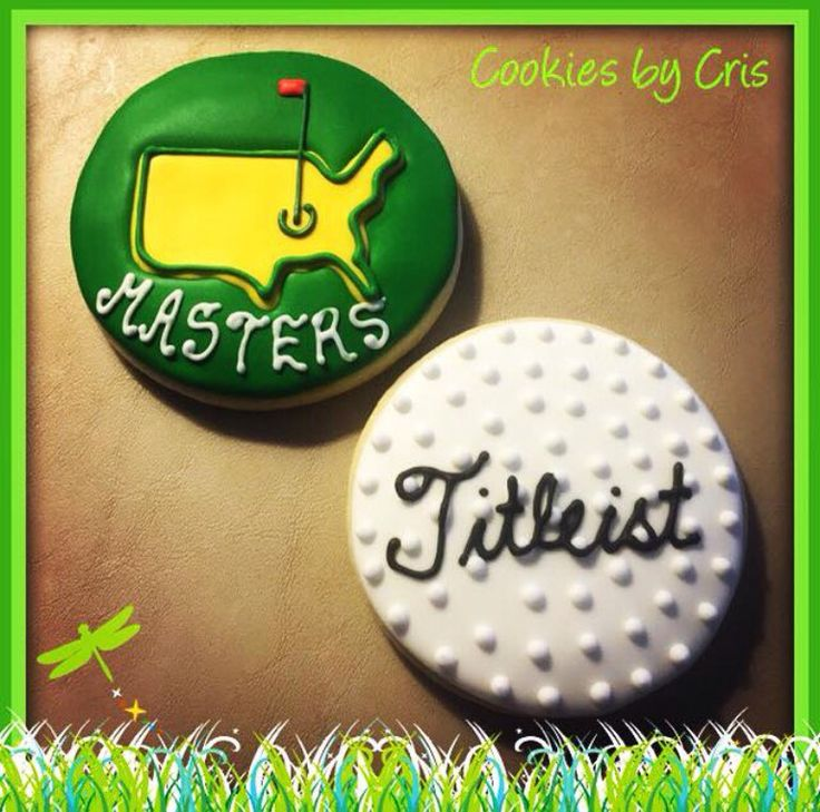 PGA Masters themed  sugar cookies. Titleist golf ball.