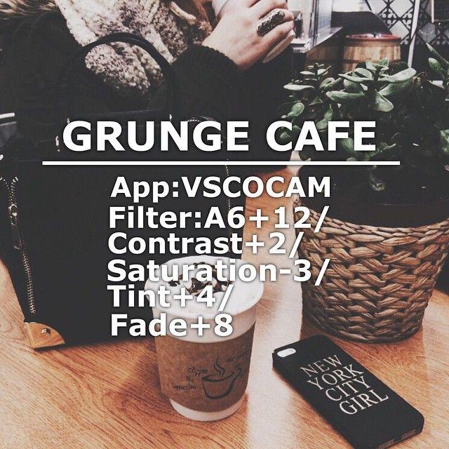 GRUNGE CAFE App: Vscocam Filter: A6+12/Contrast+2/Saturation-3/Tint+4/Fade+8 #vsco#vscocam#vscofilter