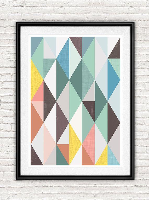 Abstract art, Scandinavian print, Mid century modern, Geometric print, Minimalist art, Abstract poster,  Wall art,  pastel color print