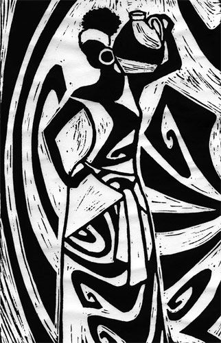 Linocut print of an African woman.
