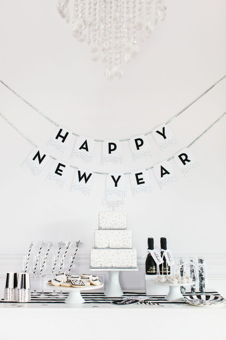 Happy new Year, New year's Eve banner white, black cocktail, buffet, table setting, scape, decoration inspiration, idea