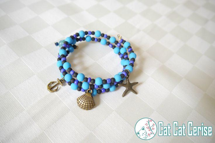 Brazalete inspirado en el mar <3 #mar #ocean #starfish #blue #pulsera #azul