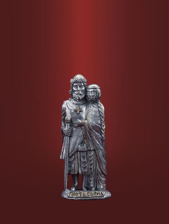 Лучший подарок на оловянную свадьбу: Св. Петр и Феврония «Плоть Едина». Чернёное олово