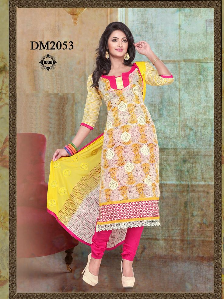 1002-New+Designer+Yellow+Chanderi+Cotton+Churidar+Salwar+Kameez.jpg (1200×1600)