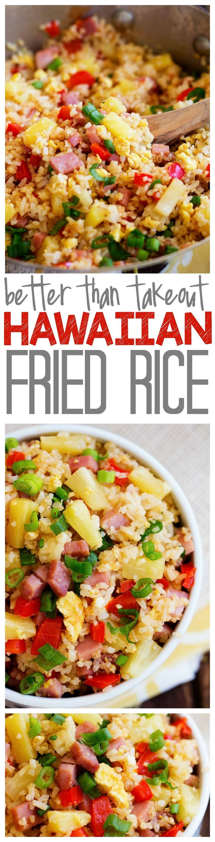 This Hawaiian Fried Rice is SO much better than takeout! Loaded with ham, pineapple and veggies this will blow your mind!