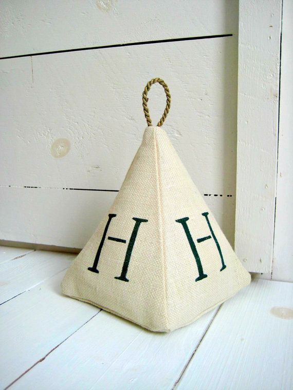 Monogram Burlap Doorstop /Rustic Decor /Cottage Chic /Fabric Door Stop /Coastal Decor /Beach Decor /Farmhouse Decor /Wedding Gift