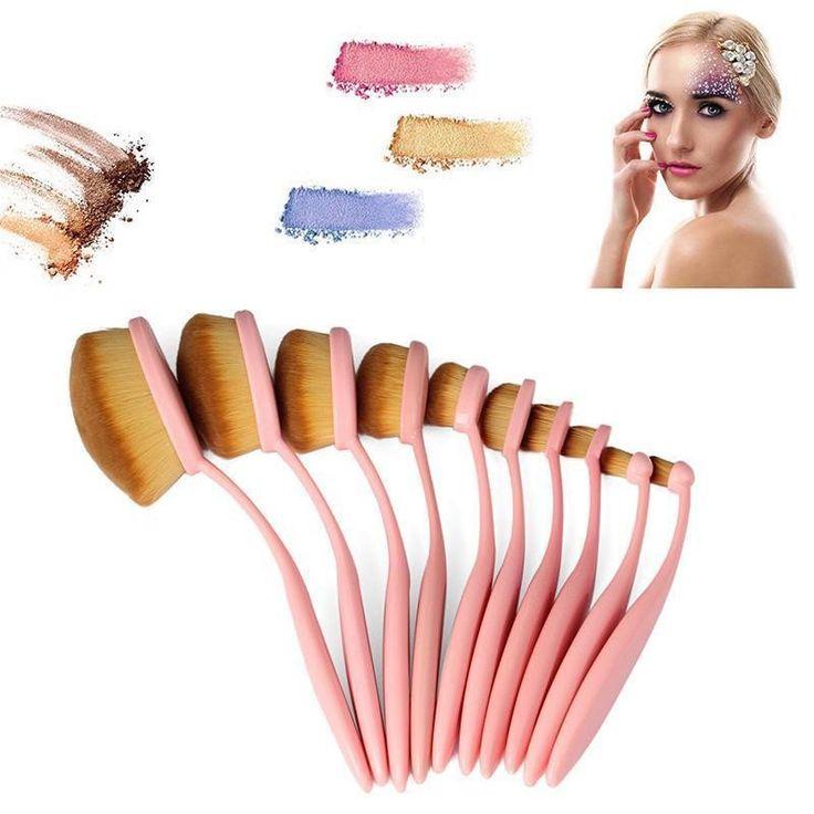 10 Pcs Toothbrush Makeup Brushes - Pink
