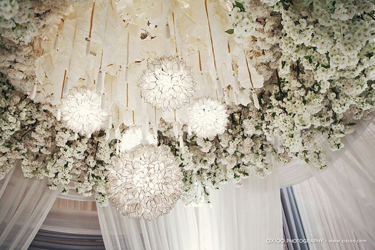 White wedding ceiling decor weddings pinterest for Ceiling decoration ideas