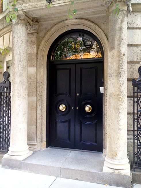 Gorgeous Black Doors in NYC~An elegant statement starts at the front door! @Mandy King Robertson. Make sure you get the front door too! Lol