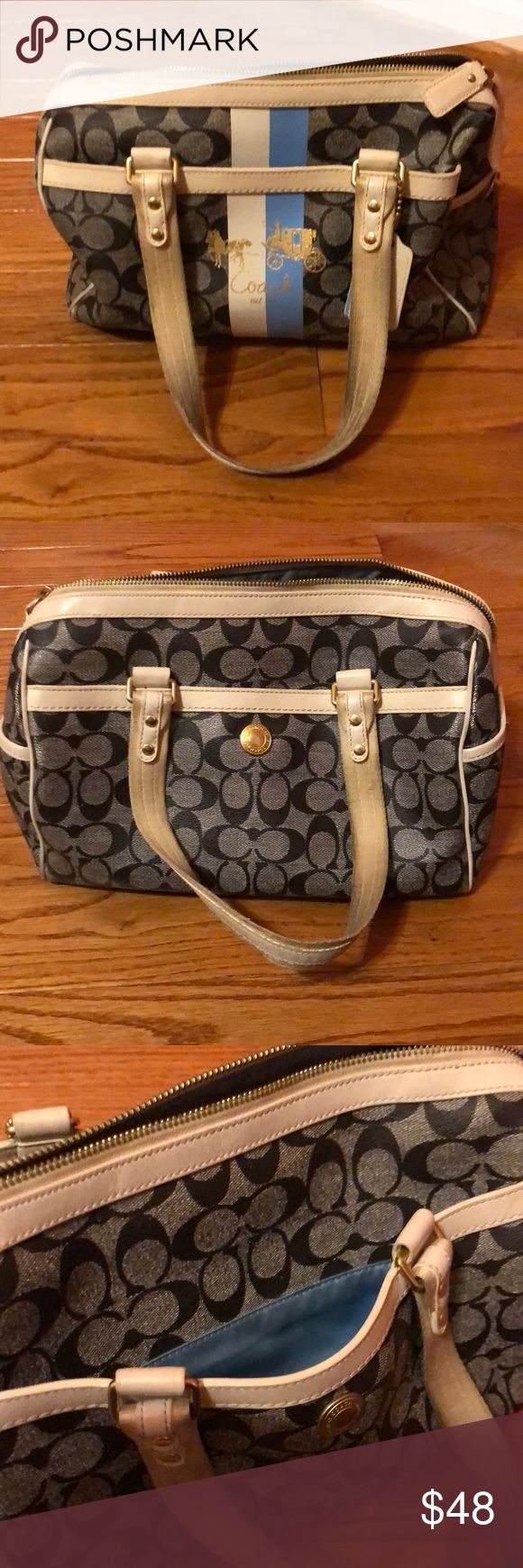 Coach satchel Coach satchel with lots of pockets. Very cute with casual outfits. Needs to be cleaned lightly. Coach Bags Satchels