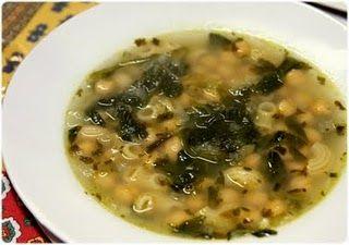 Chickpea soup with Spinach and Macaroni - Sopa de Grão com Espinafres