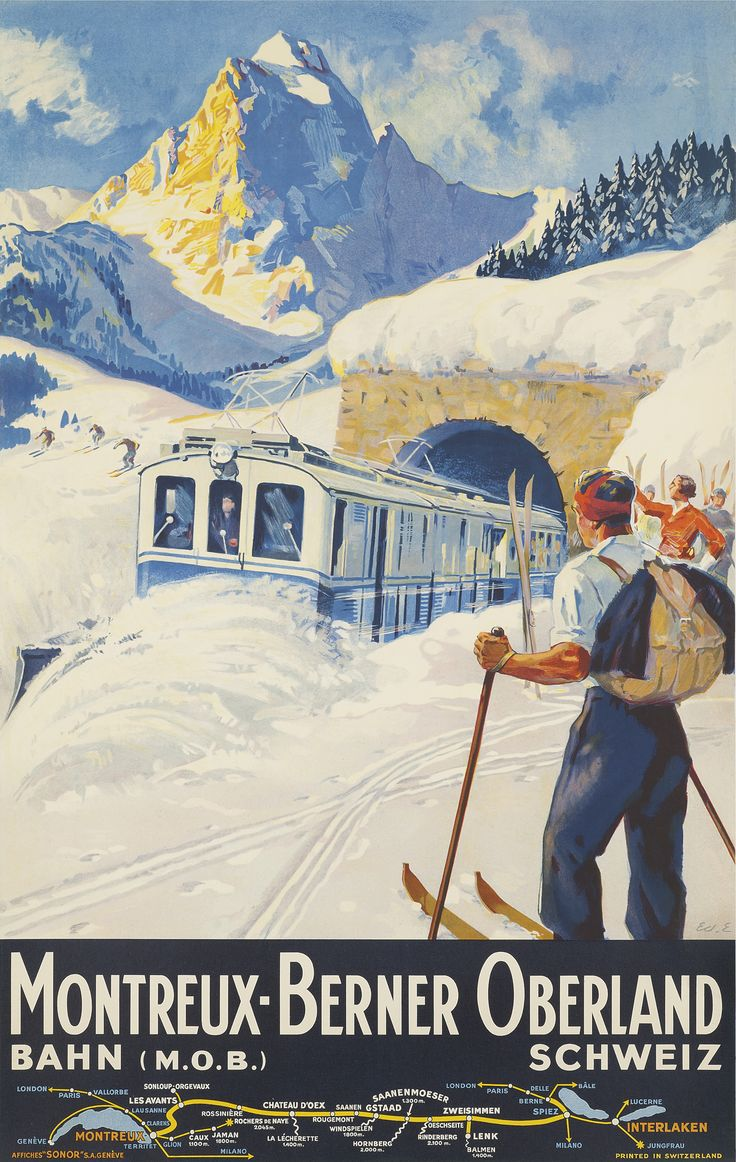 Montreux Berner Oberland, 1934 - original vintage poster by Edouard Elzingre listed at AntikBar.co.uk - SOLD: Training Posters, Vintage Posters, Picture-Black Posters, Vintage Skiing, Art Prints, Posters Art, Montreux Skiing, Vintage Travel Posters, Skiing Posters