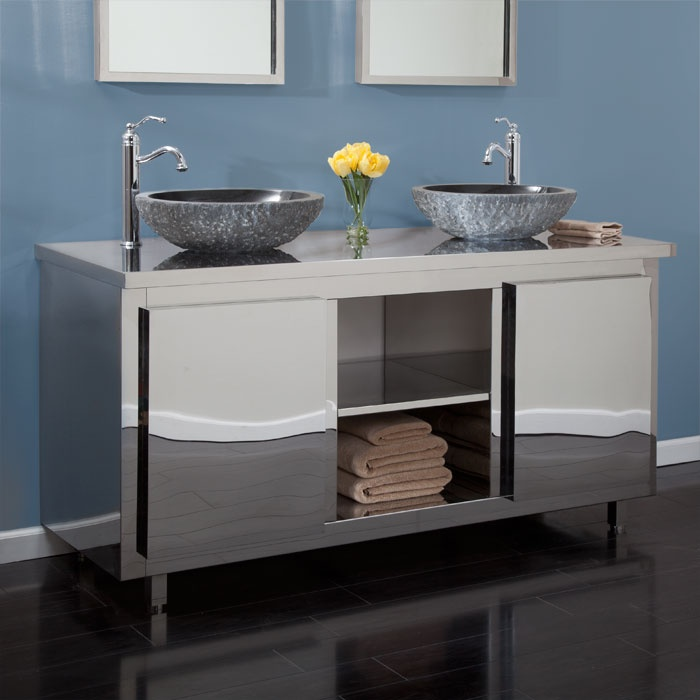 60 Stainless Steel Double Vanity Cabinet For Vessel Sink