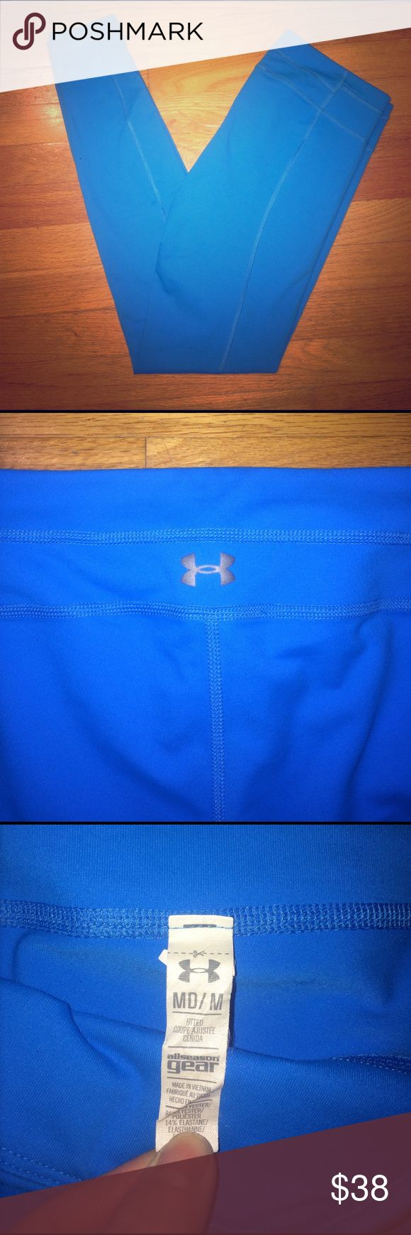 Under Armour Cold Gear Compression Leggings EUC. Vibrant electric blue color. Rare color! Cold gear, fitted style. Only worn a few times. Size M. Hidden pocket on front waist band. Under Armour Pants Leggings