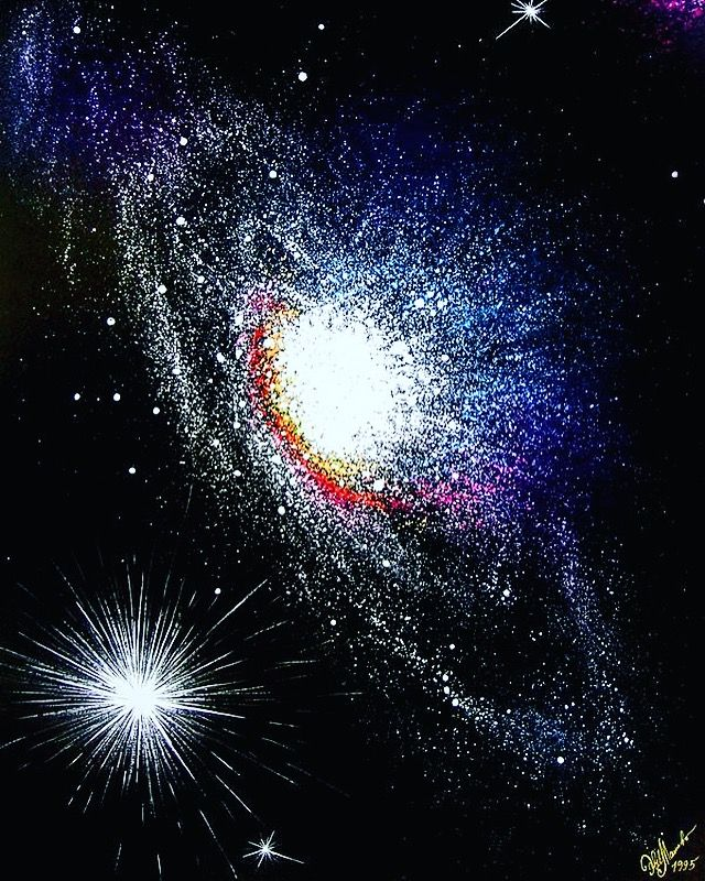 My space art white galaxy and supernova. Astronomy and art. Gouache painting, one of my best of space and sci-fi series 1995. Created in my age 14 and was shown on 12 art expositions, also award winning painting....