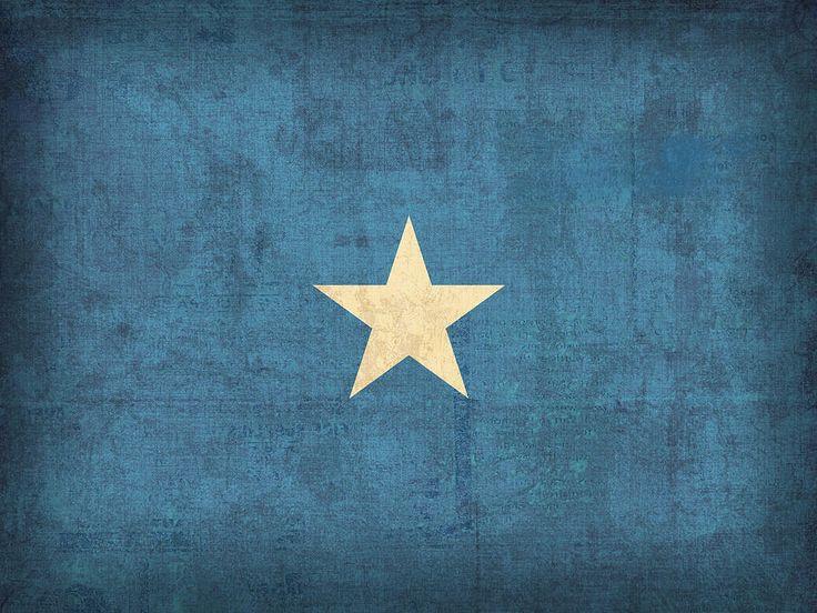 Somalia Flag Vintage Distressed Finish Mixed Media